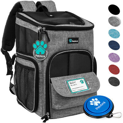 PetAmi Pet Carrier Backpack for Small Cat Dog Puppy 4-Way Entry Breathable Bag