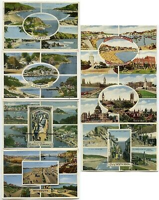 VIEW NOVELTY Pullout Flap Multiview Postcards 1940 to 1960..POSTALLY USED