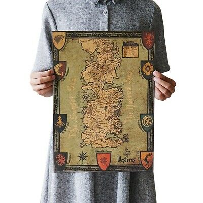 US SELLER- Game of Thrones Retro World Map poster master bedroom designs