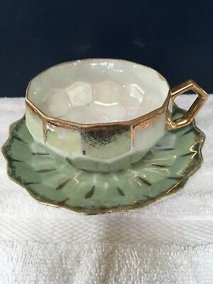 Royal Sealy China Opalescent Green & Gold 3 Footed Tea Cup and Saucer  Japan