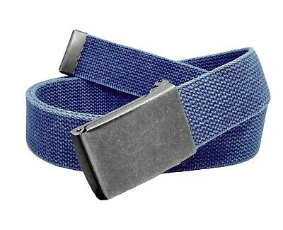 Men's 1.5 Stone Washed Cotton Canvas Belt with Antique Military Buckle Options