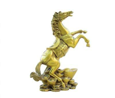 Chinese FengShui Pure Brass Sculpture Strong Erect Horse Success Adorn Statue
