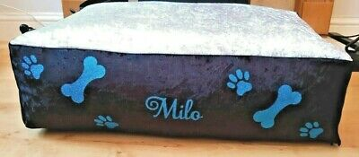 Personalised Dog Bed Crushed Velvet  XL L M S XS Pet Cushion plus Spare Cover