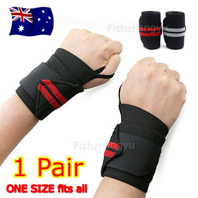 Weight Lifting Gym Muscle Training Wrist Support Straps Wraps Bodybuilding OZ