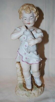 Antique German Bisque Figurine Piano Baby Bunny Rabbit Beautiful EC