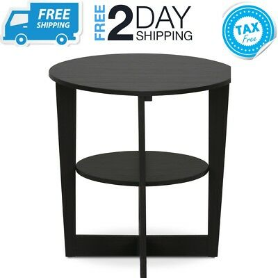 Small Round End Side Table With Storage Shelf Black Wooden
