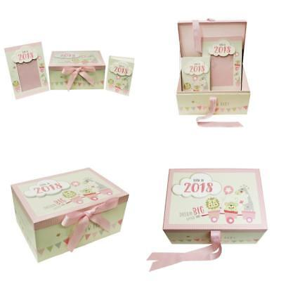 Baby Girls Born In 2018 Keepsake Gift Box Incl Photo Frame & Album Cardboard