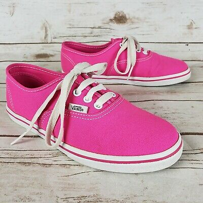 a8ba297a700acf Vans Authentic Lo Pink White Canvas Lace Up Skate Shoes Girls Youth Size 2.5