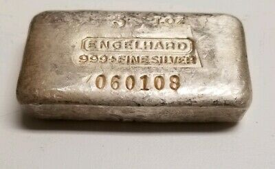Engelhard 5 oz Ounce .999+ Fine Silver Bar/Ingot. 7th Series #060108