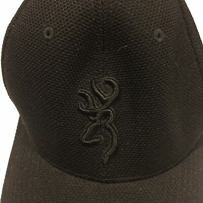 f0879da59bef1 Browning Tex-Lite Hat Adjustable Ball Cap 3D Buckmark Logo Black Great  Condition