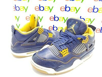 b2027c2d2dd0 NIKE AIR JORDAN Retro 4 IV Dunk From Above Navy Blue Gold 308497-425 Size