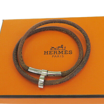 Authentic HERMES Logo Bracelet Bangle Leather Brown Silver Accessory 07EJ720