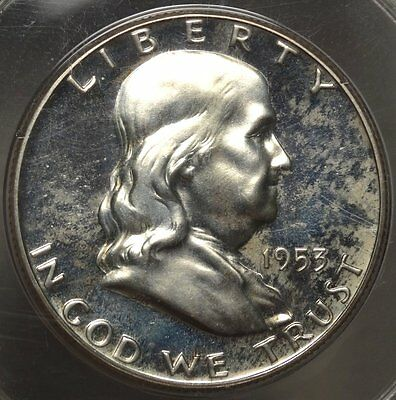 1953 Franklin Half Dollar, Choice Proof with Cameo, Old PCGS PR-64, Rattler