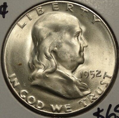 1952-S Franklin Half Dollar, Choice Brilliant Uncirculated   1018-01