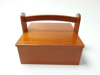 Japanese antique vintage Shunkei lacquer wood handled square box chacha