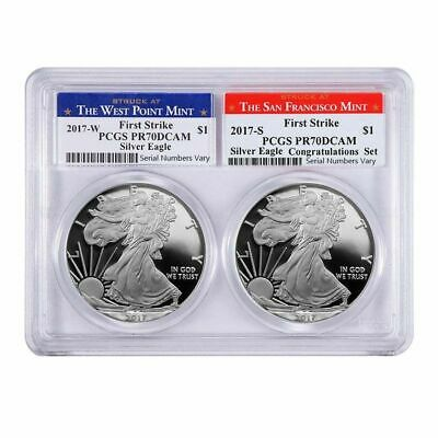 2017 W/S 1oz Proof Silver American Eagle 2 Coin Set PCGS PF 70 DCAM First Strike