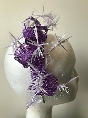NEW purple loop fascinator with biot feathers on a silver metal headband!