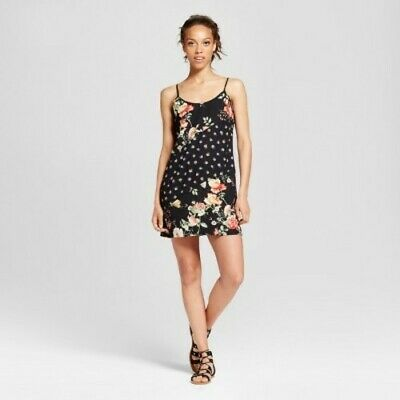 05753d078 Womens(Juniors) Xhilaration Spaghetti Strap Floral Print Slip Dress Black  Size M