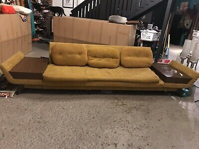 VINTAGE MID CENTURY Modern Couch Sofa Built in Tables ...