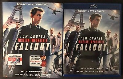 Mission: Impossible Fallout Blu Ray + Dvd 3 Disc Set With Slipcover Tom Cruise