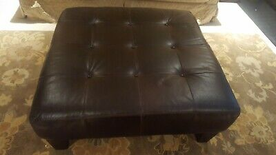 Superb Genuine Leather Pottery Barn Ottoman Square Good Condition Gmtry Best Dining Table And Chair Ideas Images Gmtryco