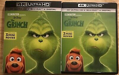 Dr. Seuss The Grinch 4K Ultra Hd + Blu Ray With Slipcover Includes 3 Mini Movies