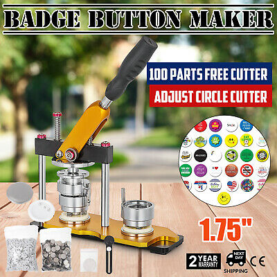 44mm(1.75'') Button Badge Maker Press Machine 100Pcs Bags Rotate Metal Slide