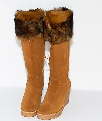 94903b03b80 NEW WOMEN'S CHESTNUT Ugg Valberg Tall Knee High Suede Toscana Fur ...