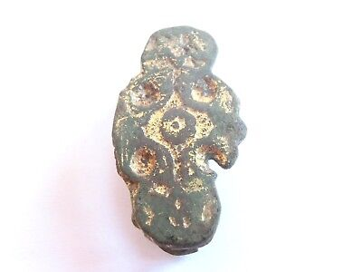 Ancient CELTIC WARRIORS Gilded Bronze Belt FITTING / MOUNT - EVIL EYE Motif