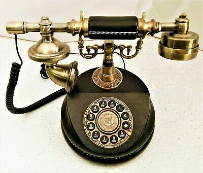 Vintage-Style Telephone Stitched Leather-bound. Landline Phone. Rotary Dial