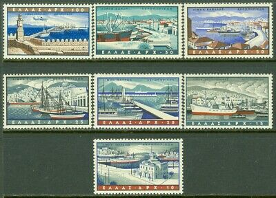 EDW1949SELL : GREECE 1958 Scott #C74-80 Complete set VF, Mint NH. Catalog $79.00