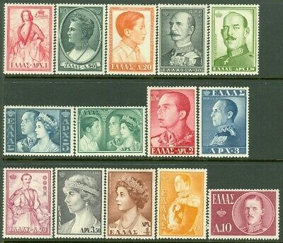 EDW1949SELL : GREECE 1957 Scott #604-17 Complete set. Very Fine Mint OG Cat $121