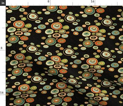 Table Cloth Klimt Rounds Circles Black And Red Fabric Printed by Spoonflower BTY