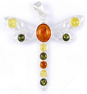 Baltic Amber Dragonfly Animal Large Pendant 925 Silver +Silver Necklace (Extra)