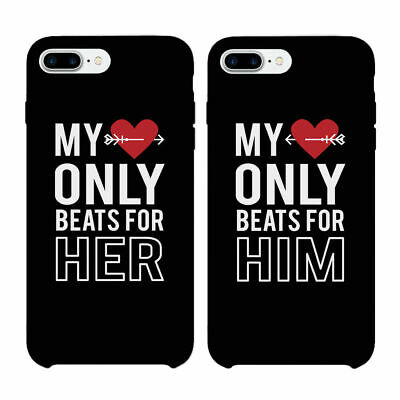 065b20fdb2 365 Printing My Heart Beats For Him & Her Matching Phone Case For Couples  Black