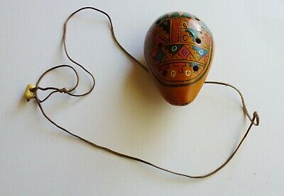 Small Clay Hand painted Ocarina Style Recorder Style Instrument Leather Cord