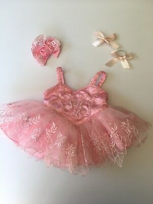 # GENUINE BUILD A BEAR BALLERINA OUTFIT Pink Lace Tutu Dress Bow - VERY GOOD