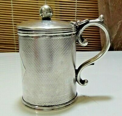 Small Antique Sterling Silver Lidded Condiment Pot - 19th century