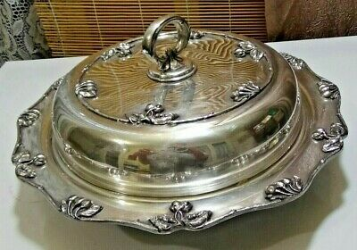 Vintage Large Silver Plate Lidded Dish with Divider Insert - Van Bergh, NY