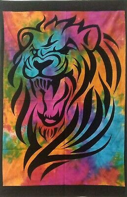 Wonderful Wall Art Blue Color Tiger Face Lion Design Small Size Tapestry Poster