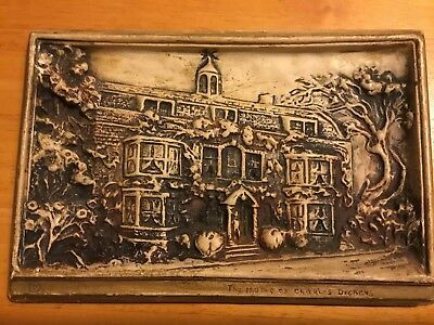 "Antique Ceramic Wall Plaque The Home Of Charles Dickens 9.3"" X 6.4"""