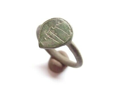 Great - Ancient CELTIC Bronze Lady's Finger Ring DRUID Symbol Engraved - 300 BC