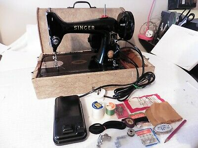 Vintage Singer 99K Electric Sewing Machine in bent wood case with accessories