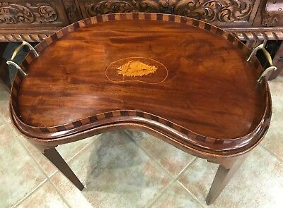 Antique Edwardian Inlaid Mahogany Kidney Shaped Butlers Serving Tray With Stand