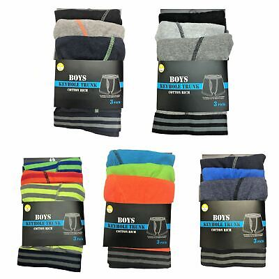 Kid 3 OR 6 Boys Boxer Shorts Super Quality Underwear Ages 2-13 Years Cotton RICH