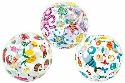 """1x 20"""" Inflatable Beach Ball Transparent Printed Blow Up Kids Summer Party Toy"""