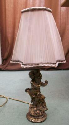 Vintage Antique French Brass Cherub Table Lamp Light & Shade