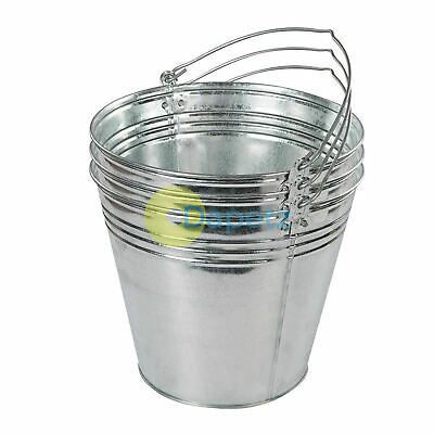 Traditional Galvanized Strong Steel Metal Bucket Large 14L 3pk Water Coal Fire