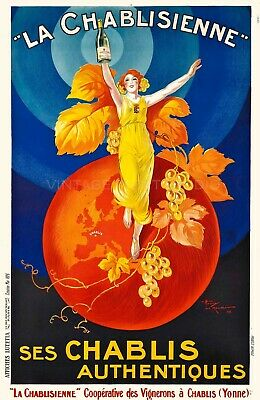 La Chablisienne French Wine Vintage Liquor Advertising Giclee Canvas Print 26x40