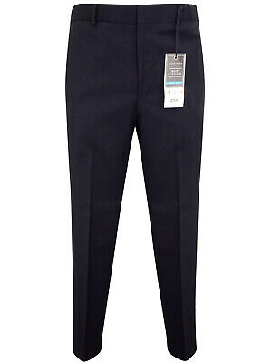 Mens Black Slim Fit Flat Front Smart Suit Tailored Business Formal Trouser 40-44